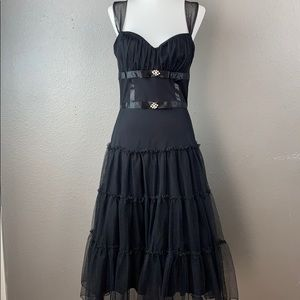 B.Smart Madonna 80's style tier tulle midi dress